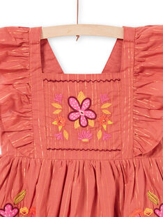 Girl's Lurex® Stripes and Floral Embroidery Dress LATEROB3 / 21S901V1ROBE415