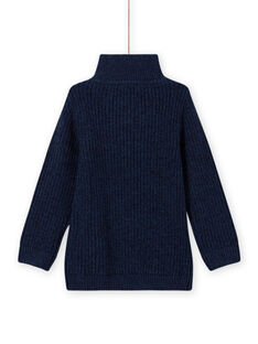Boy's blue high neck sweater with tractor embroidery MOCOPUL / 21W902L1PUL219