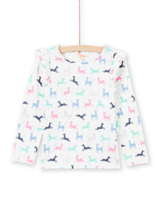 Baby girl's pink and ecru unicorn t-shirt MAPLATEE3 / 21W901O2TML001