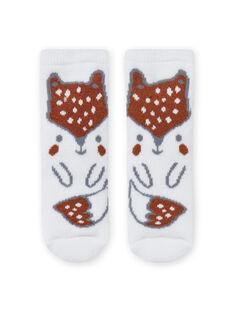 Socks with fox pattern birth boy MOU1CHO2 / 21WF4141SOQ001