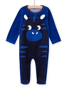Baby boy blue velvet zebra romper MEGAGREZEB / 21WH1491GRE217
