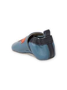 Blue leather slippers dinosaur pattern baby boy MUCHOSAUR / 21XK3822D3SC201