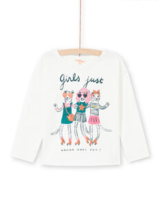 Girl's ecru long sleeve t-shirt with animal print MAKATEE4 / 21W901I3TML001