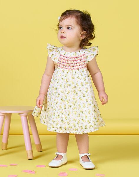 Dress and bloomer ecru and green with pineapple print baby girl LIBALROB3 / 21SG09O1ROB000