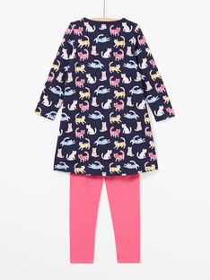 Girl's navy blue and pink nightgown and leggings pyjama set MEFACHUCAT / 21WH1181CHN070