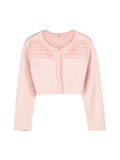 Girls' cotton knit bolero cardigan FAPOCAR2 / 19S901C2CAR307