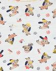 ecru T-shirt with dogs print and fancy cotton baby boy LUNOTUN / 21SG10L3TML001