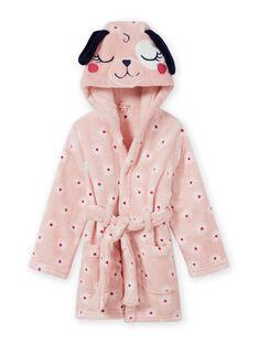 Pink bathrobe with flowery print and dog motif for children MEFAROBDOG / 21WH1181RDC307