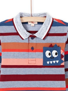 Boy's long sleeve polo shirt with colored stripes MOPAPOL / 21W902H1POL219
