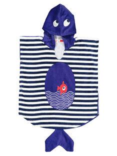Boys' fish hooded towel FYOMERPEIEX / 19SI02K1CDB000