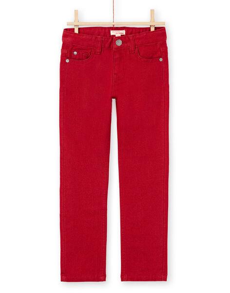 Boy's plain red jeans MOJOPAKNI3 / 21W90225PAN506