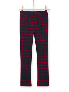 Girl's night blue milano pants with checks MAJOMIL4 / 21W90116PANC205
