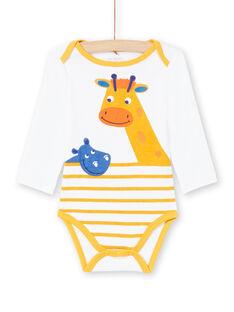 Baby boy white and yellow striped bodysuit MEGABODHIP / 21WH14B6BDL000