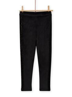 Girl's plain black velvet legging MAJOLEG6 / 21W901N9PAN090