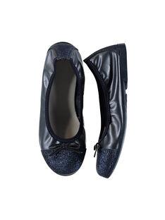 Girls' smart iridescent leather elasticated ballet pumps FFBALBLU / 19SK3531D41070