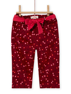 Baby girl's red burgundy satin flower print pants MIFUNPAN1 / 21WG09M2PAN504