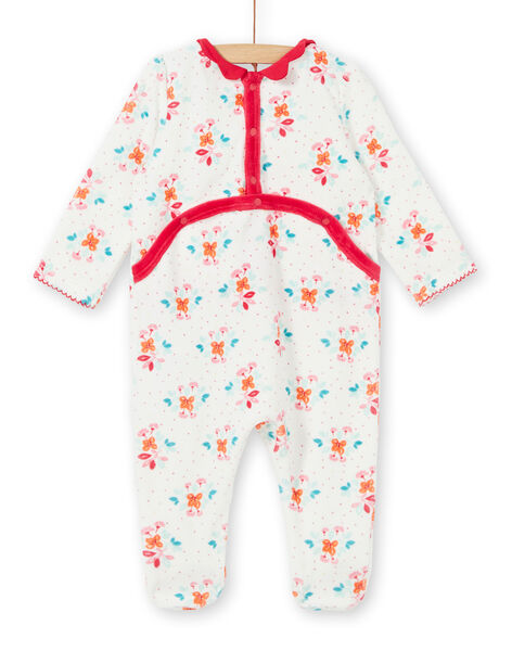 Girl's sleep suit romper with floral printed velvet LEFIGREBOU / 21SH1312GRE001