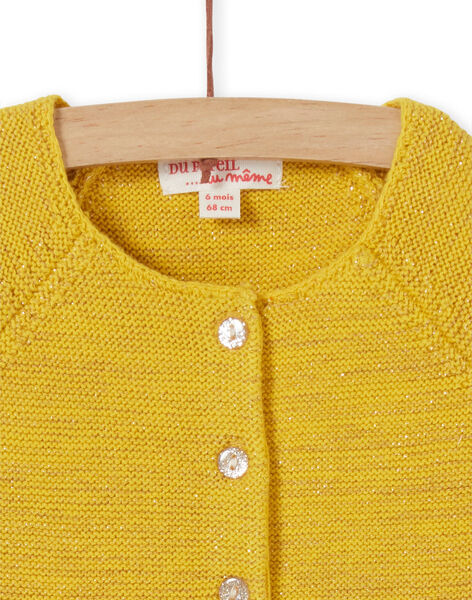 Yellow and lurex knit vest baby girl LINAUCAR1 / 21SG09L2CAR106