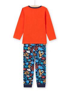 Boy's orange and dark blue T-shirt and pants pajama set MEGOPYJMAN4 / 21WH1274PYGE414