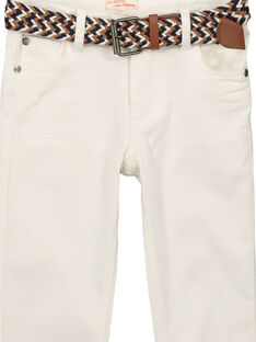 Boys' white jeans with a belt FOJOUPAN1 / 19S902T1PAN000