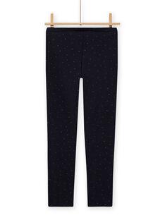 Girl's plain navy blue furry legging MAJOLEG1 / 21W901N1PAN070