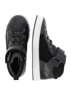 Boys' leather city trainers DGBASIQUE / 18WK36T9D3F090