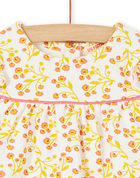White and yellow dress set with floral print and white and red leggings with baby girl stripes LINAUENS1 / 21SG09L2ENS001
