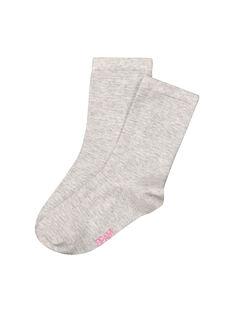 Girls' plain mid length socks FYAJOCHO1B / 19SI013ASOQ099