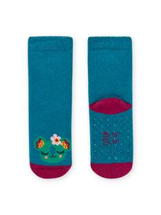Turquoise blue socks with animal print baby girl MYIJOSOQB3 / 21WI0915SOQC217