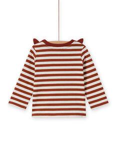 Baby boy striped t-shirt with fox print MUSAUTEE1 / 21WG10P1TMLI803