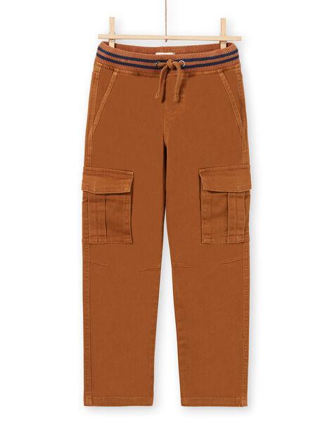 Boy's brown twill cargo pants MOJOPAMAT4 / 21W90227PAN812