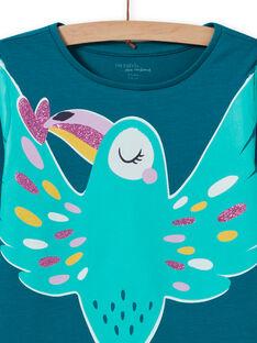 Girl's phosphorescent bird turquoise pajama set MEFAPYJTOU / 21WH1172PYGC217