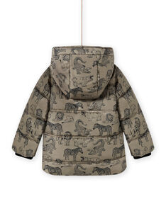 Child boy's khaki printed down jacket MOGRODOU4 / 21W90261D3E080