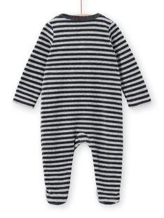 Boy's sleep suit in mottled striped velvet panda design LEGAGREPAN / 21SH1451GREJ922
