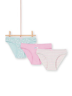 Set of 3 pink, blue and ecru panties for children and girls LEFALOT6 / 21SH1124D5L320
