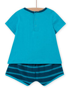 Baby boy blue and turquoise beach outfit LUPLAENS2 / 21SG10T1ENS202