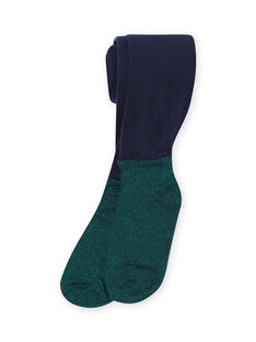 Girl's navy blue and green tights MYATUCOL1 / 21WI01K2COL070
