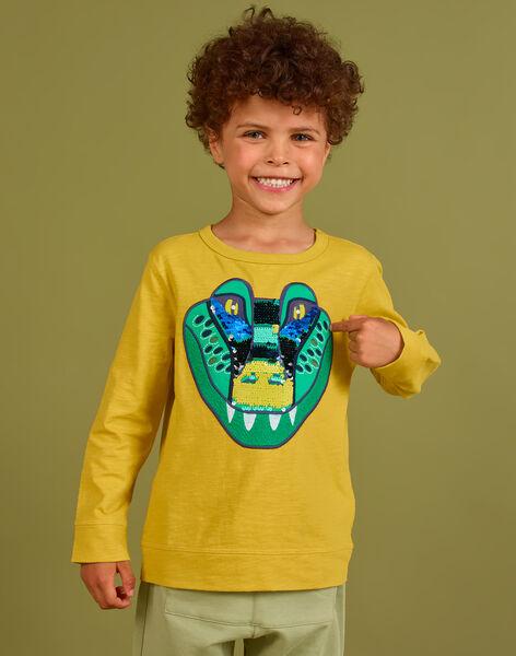 Boy's yellow crocodile T-shirt with reversible sequins MOKATEE2 / 21W902I3TML106