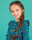 Duck blue dress in twill with flowery print child girl MATUROB1 / 21W901K2ROB714