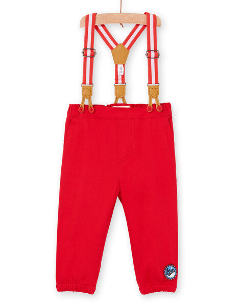 Red pants and suspenders baby boy LUVIPAN / 21SG10U1PANF515