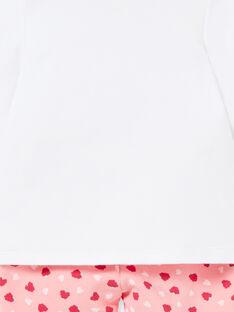 Girl's baby pyjama in brushed fleece with raspberry motifs LEFIPYJFRA / 21SH1351PYJD308