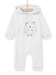 Mixed birth grey hooded jumpsuit with hedgehog design MOU1COM1 / 21WF0541CBLJ920