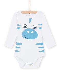 Baby boy's white zebra bodysuit MEGABODZEB / 21WH14C1BDL000
