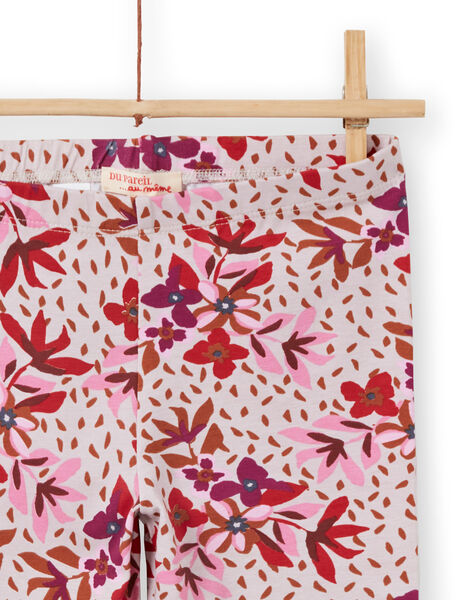 Girl's pink floral print legging MYACOMLEG / 21WI01L1CALD329
