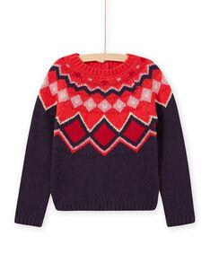 Child girl colorful jacquard knit sweater MAFUNPULL1 / 21W901M2PULH703