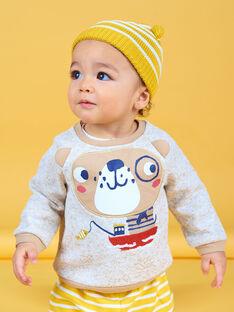 Baby boy beige heathered sweatshirt LUNOSWE / 21SG10L1SWEA010