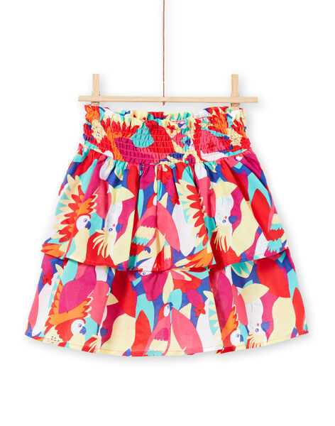 Girl's skirt with smocks and ruffles and parrot print JAMARJUP2 / 20S901P3JUP000