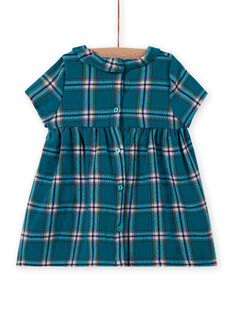 Baby girl's turquoise check and patterned dress MITUROB3 / 21WG09K1ROBC217