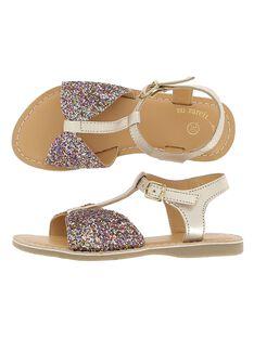 Girls' leather sandals CFSANDBOW / 18SK35WFD0E954