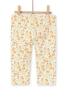 Leggings stuffed ecru and yellow baby girl flower print LINAUPAN / 21SG09L1PAN001